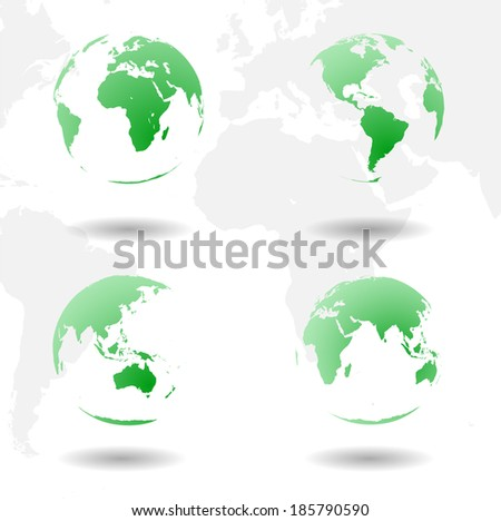 Set of vector green Earth. Four sides of our planet