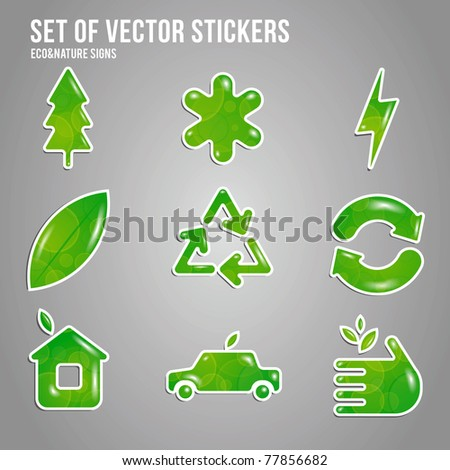 set of vector green eco shapes - stock vector