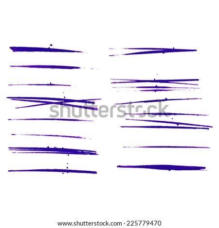 Set of vector grunge brushes. Abstract hand drawn ink strokes  - stock vector
