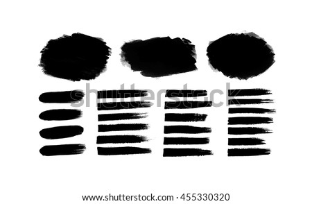 Set of vector grunge textures. Black paint, ink, grunge, dirty brush strokes isolated on white. Backgrounds for design or scrapbook. - stock vector