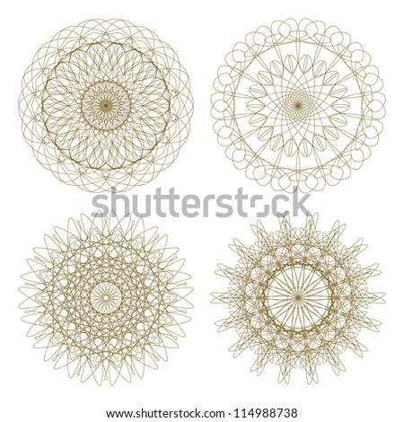 Set of vector guilloche rosettes certificate or diplomas, brown decorative elements - stock vector
