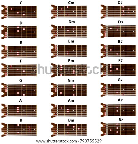 Set Vector Guitar Chords Tab Tabulation Tabulature Stock Photo