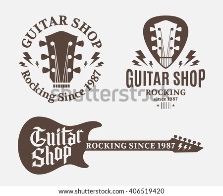 Set of vector guitar shop logo. Music icons for audio store, branding or poster.