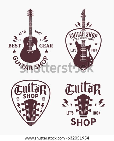 Set of vector guitar shop logo. Music icons for audio store, branding, poster or t-shirt print