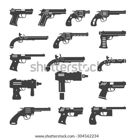 Set of vector guns, handguns and pistols - stock vector