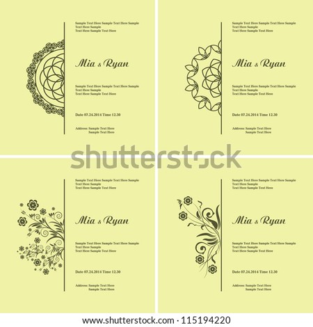 Set of Vector Half Ornament Frame. Background of color of a lime. Grouped for easy editing. Perfect for invitations or announcements. - stock vector