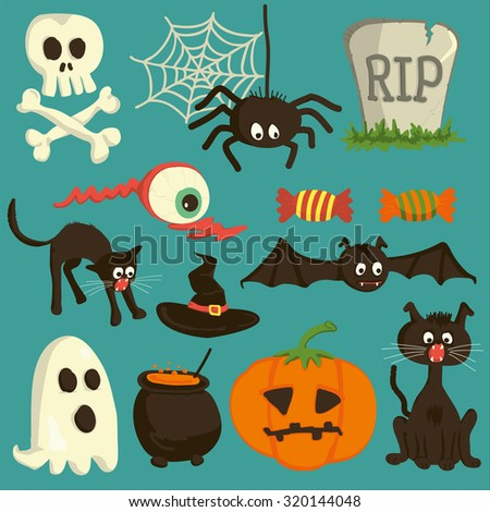 Set of vector Halloween cartoon icons - stock vector