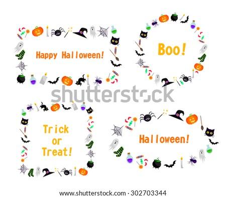 Set of vector halloween frames. Elements for design. - stock vector