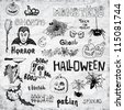 Set of Vector Halloween Hand Draw Design Elements - stock vector