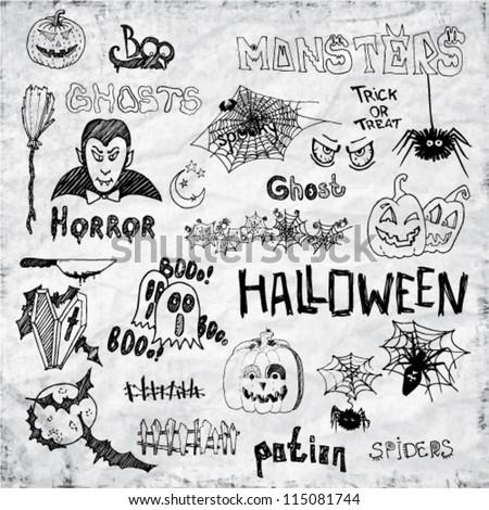 Set of Vector Halloween Hand Draw Design Elements - stock vector