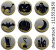 set of 9 vector Halloween icons on gray with yellow - stock vector
