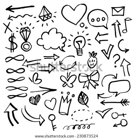 Set of vector hand drawn correction elements.  Pencil technique.  Vector illustration. - stock vector