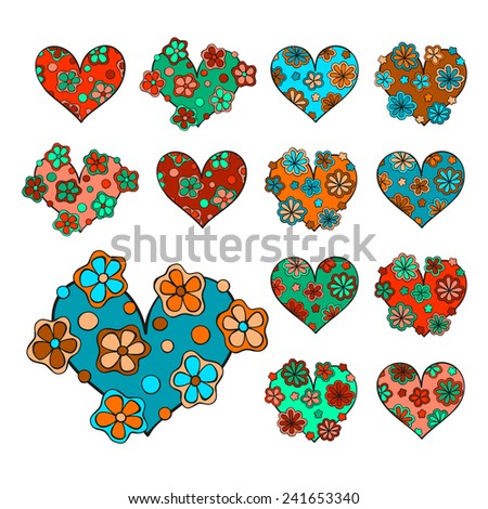 Set of vector hand drawn cute hearts with floral decoration. Isolated, colorful, four unique hearts, in two color patterns. Editable. Can be used for stickers, in romantic banners, greeting cards.  - stock vector