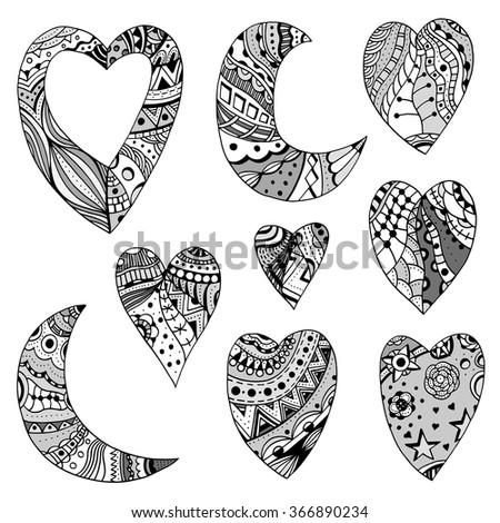 Set of vector hand drawn doodle ornate hearts and crescent decorated with abstract ornaments. Decorative elements for valentines day - stock vector
