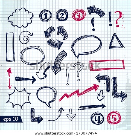Set of vector hand drawn info graphic design elements for your design - stock vector