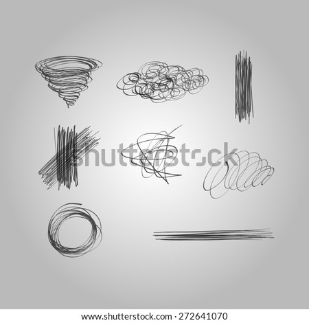 Set of vector hand drawn lines - stock vector