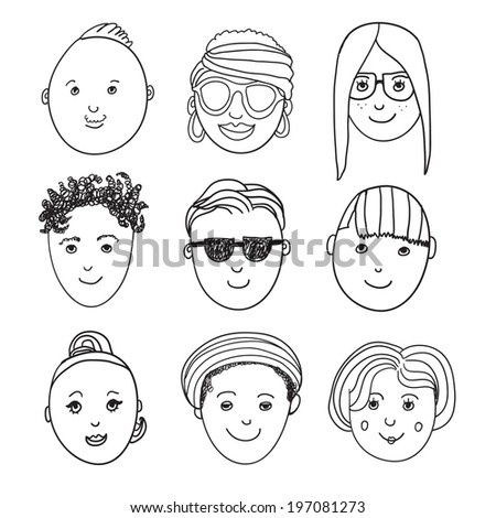 set of vector hand drawn people faces