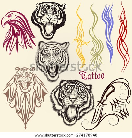 Set of vector hand drawn tattoo with animals and ornaments - stock vector