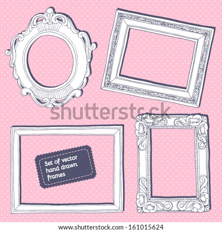 Set of vector hand drawn vintage frames. - stock vector
