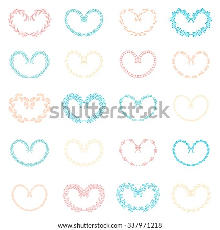 Set of vector hand drawn wreath, laurels in the form of hearts. Natural design elements to decorate greeting, wedding, invitations, Valentine's Day and other cards - stock vector