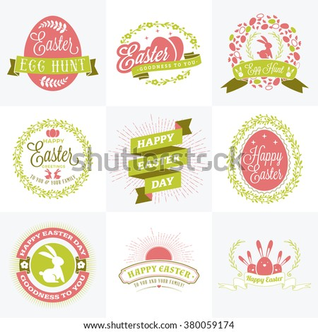 Set of Vector Happy Easter Label Elements. Vintage Holiday Badges. Vector Templates for Greeting Card