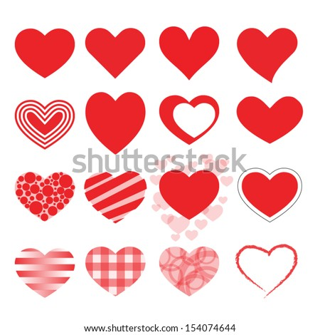 Set of vector hearts. - stock vector