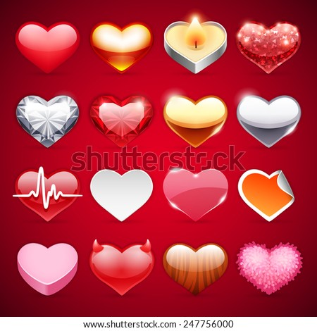 Set of Vector Hearts Icons for Romantic Projects - stock vector