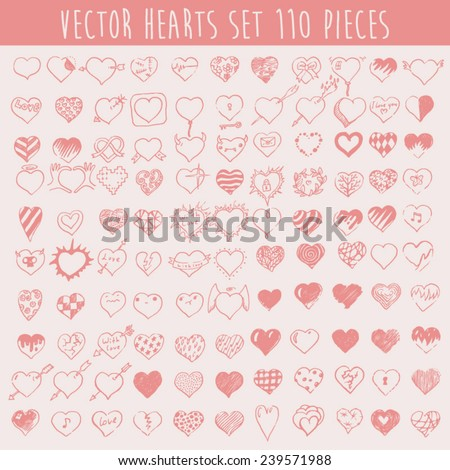 Set of vector hearts, one hundred ten pieces, design elements, valentine background, hand drawn vector illustration.