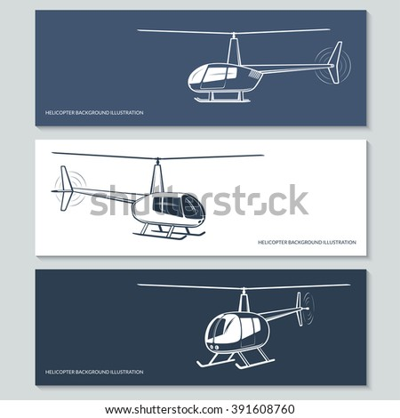 Set of vector helicopter silhouettes, outlines, contours isolated on white and dark backgrounds - stock vector