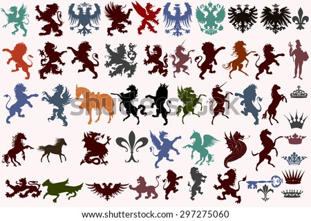 Set of vector heraldic shapes animals, crowns, fleur de lis and monsters - stock vector