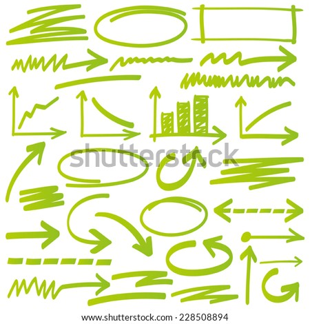 Set of vector highlighter elements - stock vector