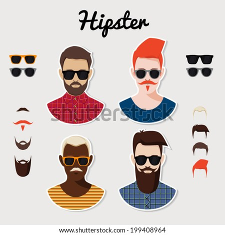 Set of vector hipster characters with hairstyle, beards, mustaches and glasses.  - stock vector