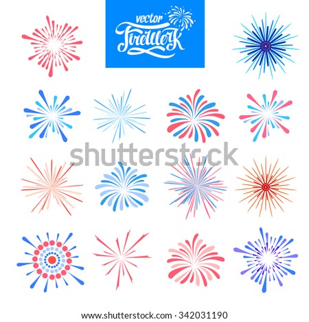 Set of Vector holiday firework - stock vector