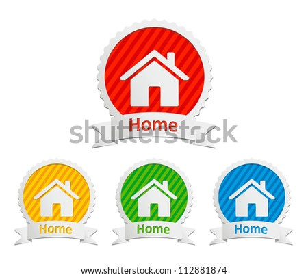 set of vector home icon - stock vector