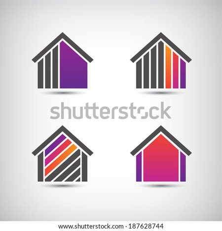 set of vector house icons, logos - stock vector