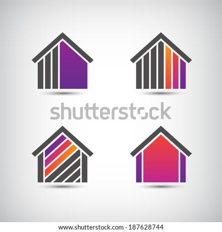 set of vector house icons, logos - stock vector