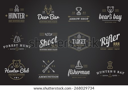 Set of Vector Hunting Camping Sport Elements Illustration  can be used as Logo or Icon in premium quality - stock vector