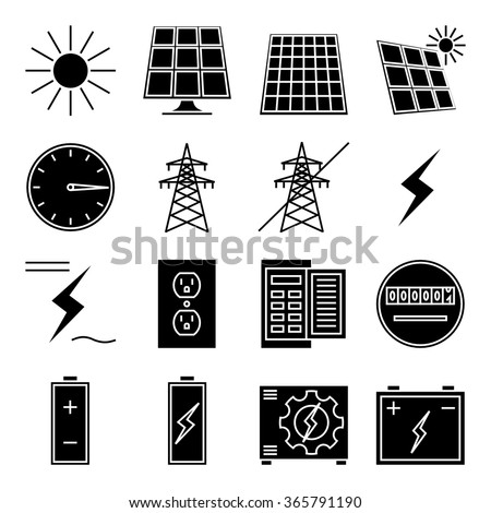"Set of vector icon ""Solar power"" - stock vector"