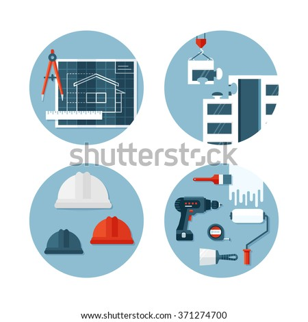 Set of vector icons about construction, tools, equipment,  engineering and safety. Flat design style. Conceptual illustrations of designing and building. - stock vector