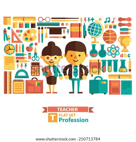 Set of vector icons and characters. Teacher, education, school. Flat style - stock vector
