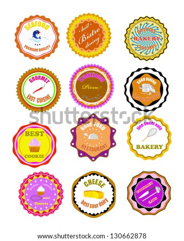 Set of vector icons and elements for food - stock vector