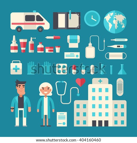 Set of Vector Icons and Illustrations in Flat Design Style. Profession Medicine Doctor. Male and Female Cartoon Characters Surrounded by Medical Appliances - stock vector
