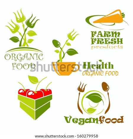Set of vector icons and symbols for organic food - stock vector