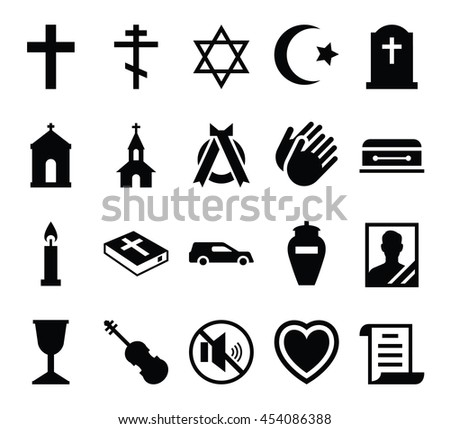 Set of vector icons cemetery and funeral and a funeral accessories - stock vector