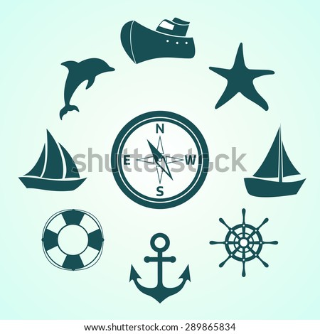 Set of vector icons contains ships, boats, sea life and equipment