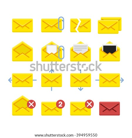 Set of vector icons e-mail. Yellow icons mail letter, e-mail in a flat style for use in your design layouts and web applications. - stock vector