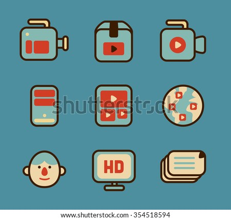 Set of vector icons featuring internet concepts.
