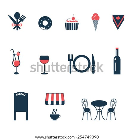 set of vector icons for cafe - stock vector