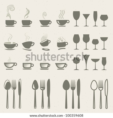 Set of vector icons for food and drink - stock vector