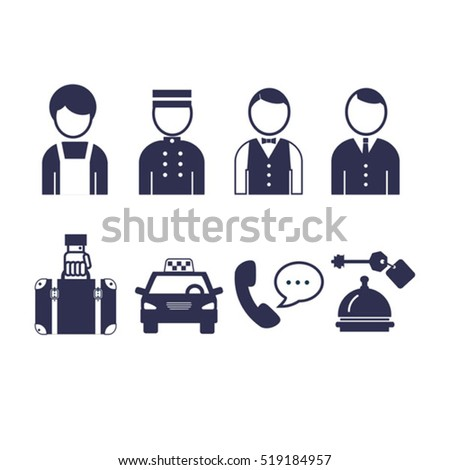 Set Of Vector Icons For Hotel Service And Staff